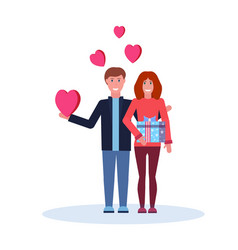 Couple in love with gift box surprise happy vector