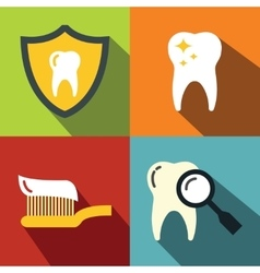 Dentistry medical flat icons on color background vector