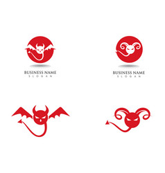 Devil logo red icon template vector