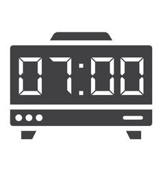 digital clock solid icon electronic and alarm vector image