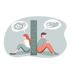 Divorce breakup separation concept depressed vector