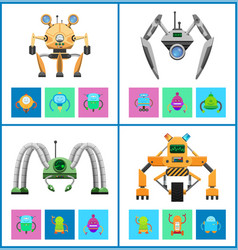 Droids four colorful posters vector