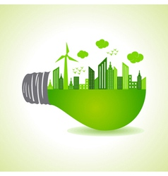 Eco cityscape on light bulb vector