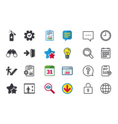emergency exit icons door with arrow sign vector image