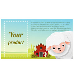 Farm animal and rural landscape with sheep vector
