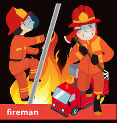 Fireman collection vector