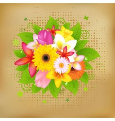 Flower background on vintage paper vector