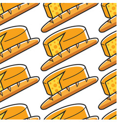 French cheese and baguette seamless pattern france vector