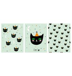 Funny hand drawn black cat set vector