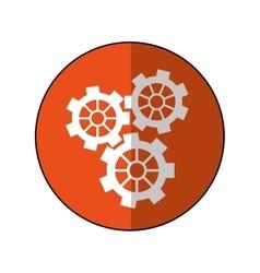 gear wheel engine cog icon orange shadow vector image