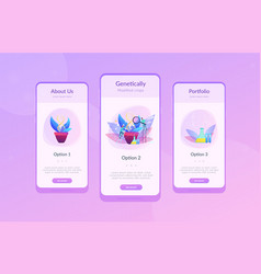 Genetically modified plants app interface template vector