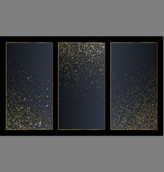Golden glittering particles banners or social vector