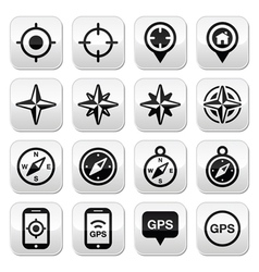 GPS navigation wind rose compass buttons set vector image