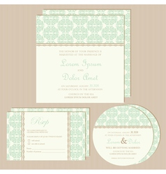 green vintage wedding invitations set vector image