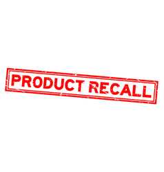 Grunge red product recall word square rubber seal vector