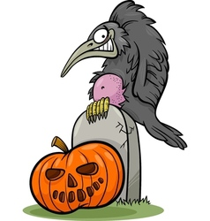 halloween pumpkin with crow cartoon vector image