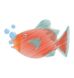 hand drawing orange fish marine ecosystem life vector image
