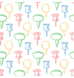 hand drawn doodle navigation pins seamless pattern vector image