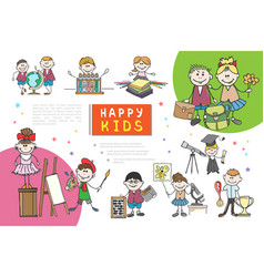 hand drawn kids composition vector image