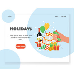 happy holidays website landing page design vector image