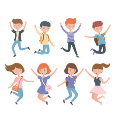 Happy young men celebrating jumping characters vector