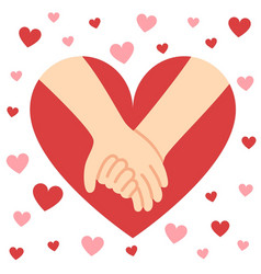 holding hands valentine heart vector image