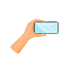 human hand holding mobile phone horizontally vector image