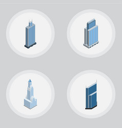 Isometric skyscraper set of residential cityscape vector