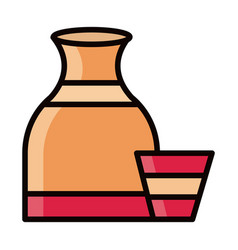 jug and cup clay kitchen line and fill icon vector image