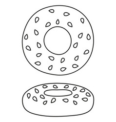 Line art black and white german bagel vector