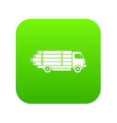 log truck with the pile of logs icon digital green vector image