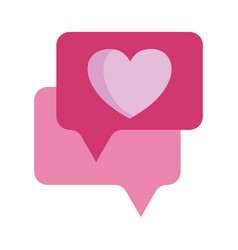 love hearts speech bubble message isolated icon vector image