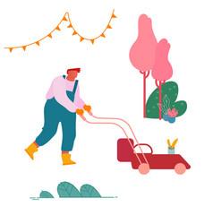 man mow lawn in garden or public city park vector image