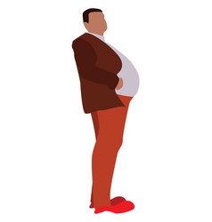 Man with big belly on white background vector