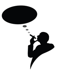 man with cigarette and black cloud for text vector image