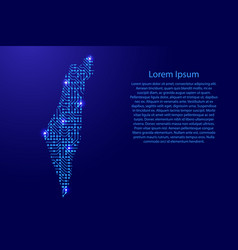 map israel from printed board chip and radio vector image