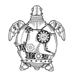 Mechanical turtle animal engraving vector