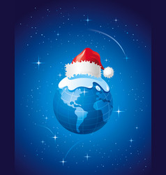 Merry christmas dear planet poster with earth vector