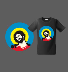 modern t-shirt design with portrait of jesus vector image