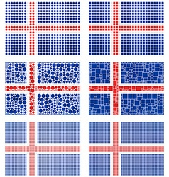 Mosaic Iceland flag set vector