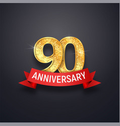 ninety anniversary logo template 90th years vector image