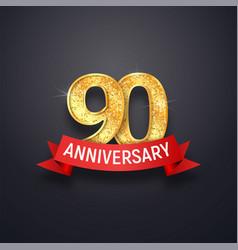 Ninety anniversary logo template 90th years vector