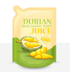 Packing for juice from exotic durian fruit vector