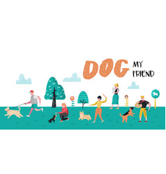 people training dogs in park dog poster vector image
