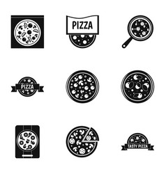 pizza icons set simple style vector image