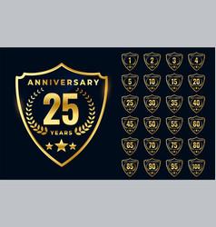 premium golden anniversary logotype big vector image