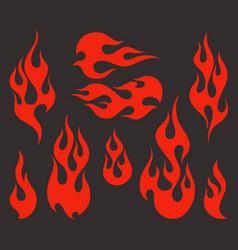 Red fire old school flame elements vector