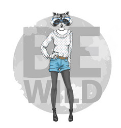 Retro hipster fashion animal raccoon woman model vector
