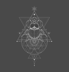 Scarab and sacred geometric symbol vector