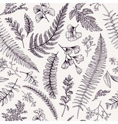 Seamless floral pattern in vintage style leaves an vector